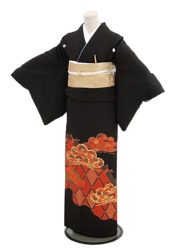 黒留袖レンタル3089さび朱に竹垣と松