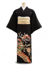 黒留袖C3018茜色花に鳳凰