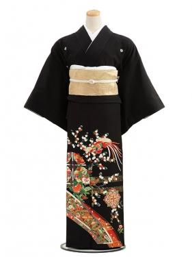 黒留袖レンタルC3018茜色花に鳳凰