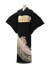 黒留袖Q3-55桂由美裏鏡にバラ