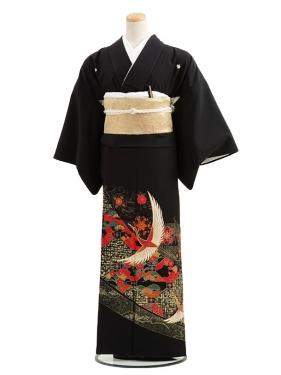 黒留袖レンタルC3010すかし柄に鶴
