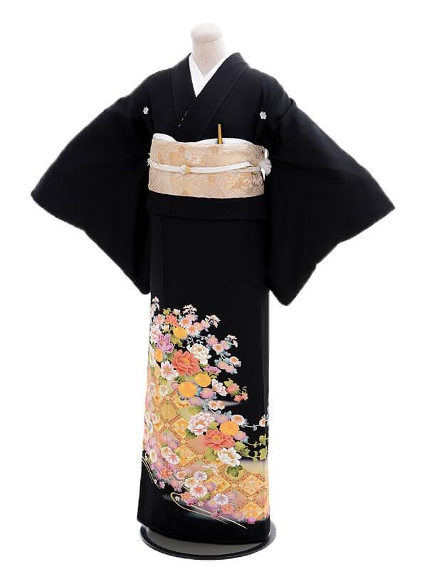 黒留袖レンタルQ3-49菱文四季花