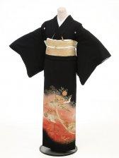 黒留袖レンタル3112扇の舞