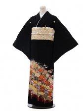 黒留袖レンタル3134牡丹飾り幕