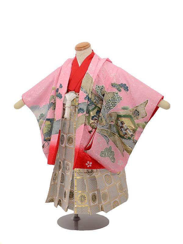 七五三 3歳男袴 鷹 巻物 ピンク