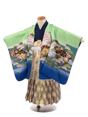 七五三 3歳男袴 緑 青 兜 扇子 松