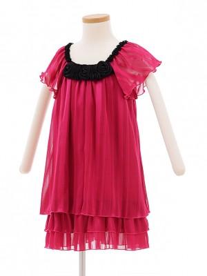 子どもドレス 7016 チェリーピンク シフォンワンピース