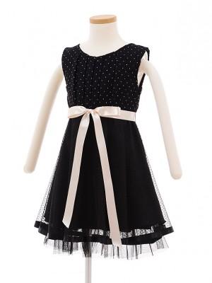 子どもドレス 7017 ブラックラメドット チュールワンピース