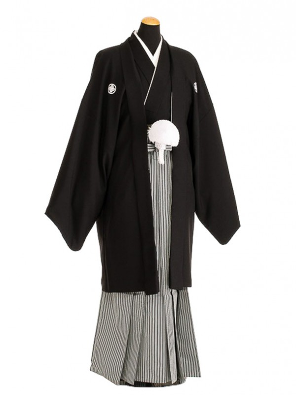 卒業式成人式袴男レンタル091-4/黒紋付/地味袴