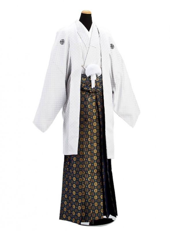 卒業式成人式袴男レンタル023-4/白刺子紋付袴