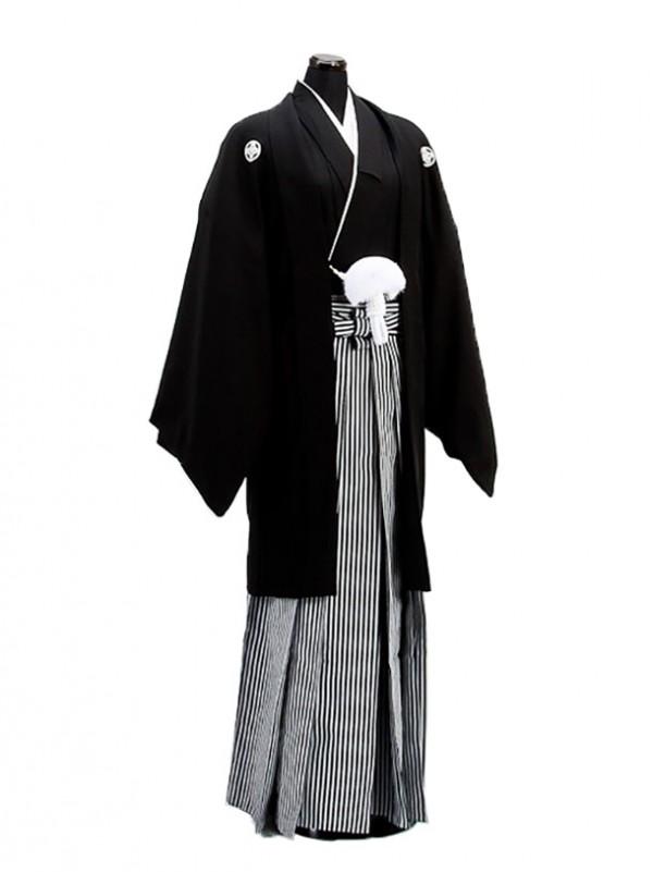 卒業式成人式袴男レンタル001-6/黒紋付羽織袴