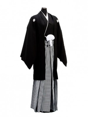 卒業式成人式袴男レンタル001-3/黒紋付羽織袴
