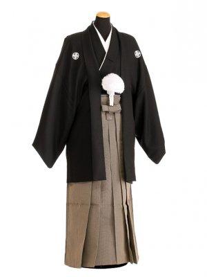 卒業式成人式袴男レンタル092-7/黒紋付/地味袴