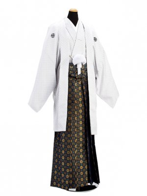 卒業式成人式袴男レンタル024-6/白刺子紋付袴