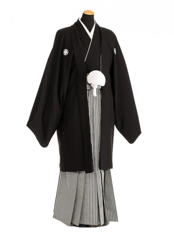 卒業式成人式袴男レンタル091-6/黒紋付/地味袴