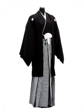 卒業式成人式袴男レンタル002-4/正絹黒紋付袴