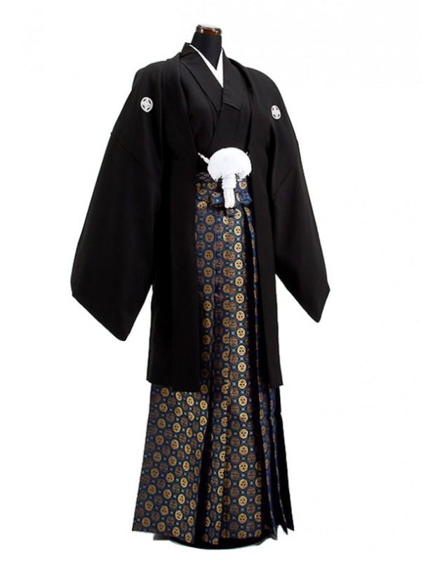 卒業式成人式袴男レンタル027-9/黒紋付/金菊袴
