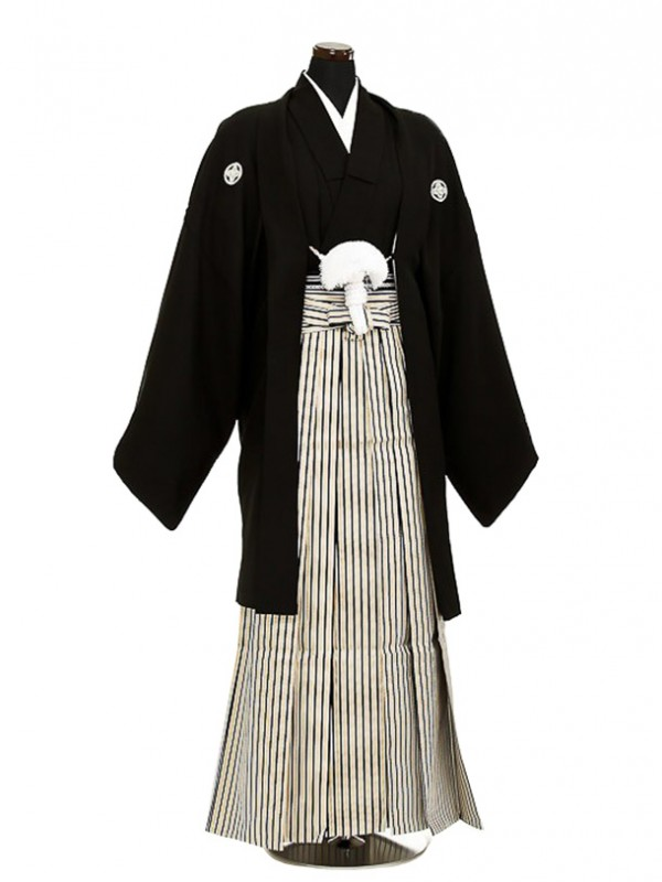 卒業式成人式袴男レンタル045-7/黒/濃紺金縞袴