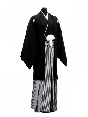 卒業式成人式袴男レンタル002-6/正絹黒紋付袴