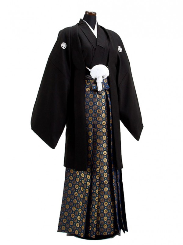 卒業式成人式袴男レンタル026-7/黒紋付/金菊袴