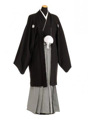 卒業式成人式袴男レンタル091-9/黒紋付/地味袴
