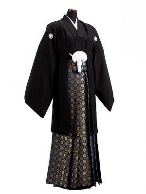 卒業式成人式袴男レンタル027-8/黒紋付/金菊袴