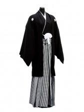 卒業式成人式袴男レンタル002-8/正絹黒紋付袴