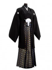 卒業式成人式袴男レンタル025-3/黒紋付/金菊袴
