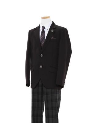 [男児スーツ]長ズボン/黒ノッチド2釦スーツ/BS44