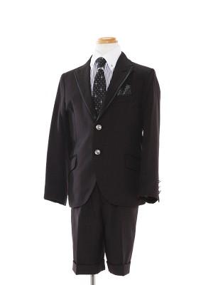 [男児スーツ]半ズボン/黒/白×黒ストライプシャツ/BS9