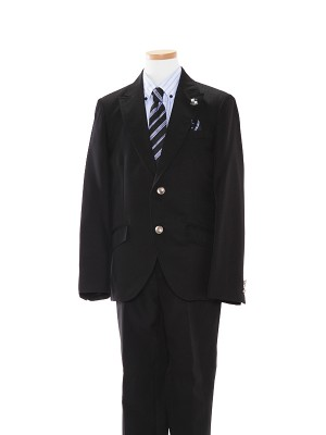 [男児スーツ]長ズボン/黒/水色×青ストライプシャツ/BS29