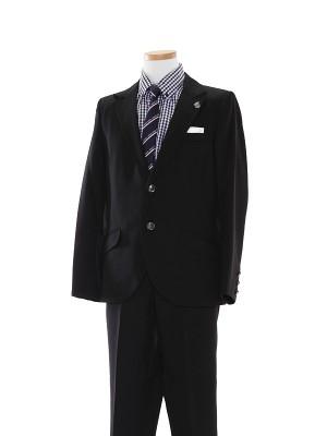 [男児スーツ]長ズボン/黒/ギンガムチェック柄/B10