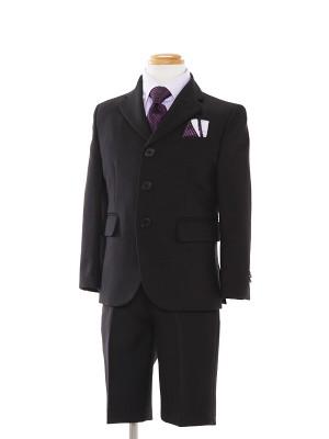 [男児スーツ]半ズボン/黒スーツ/紫Yシャツ/BS02