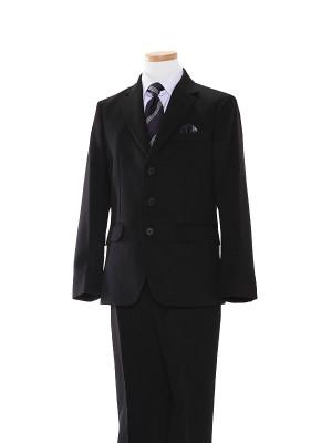 [男児スーツ]長ズボン/黒/白×紫ストライプシャツ/BS18