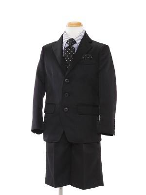 [男児スーツ]半ズボン/黒ストライプ/ドット柄ネクタイ/BS15