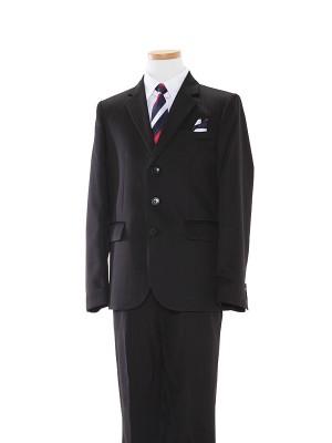 [男児スーツ]長ズボン/黒ダブルストライプ地スーツBS37