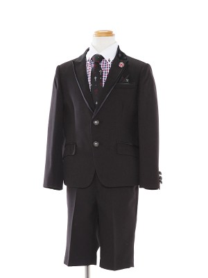 [男児スーツ]半ズボン/黒/ギンガムチェック柄/BS03