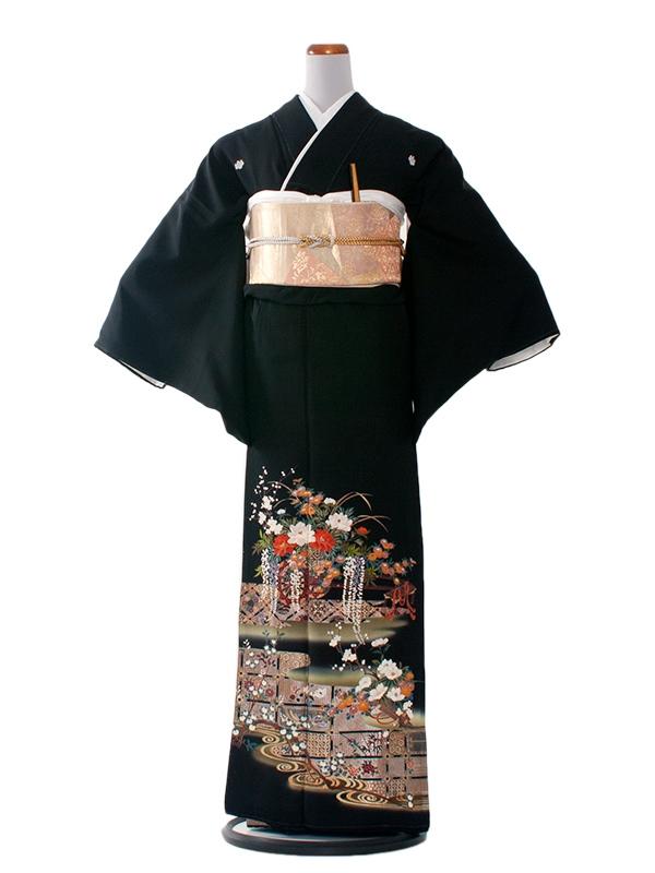 留袖 290 抹茶地に花車/L