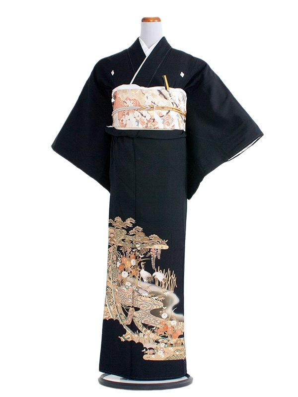 留袖 260 抹茶地に花と鶴