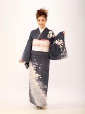 訪問着オリジナル 桜 紺 ネイビー kt6192