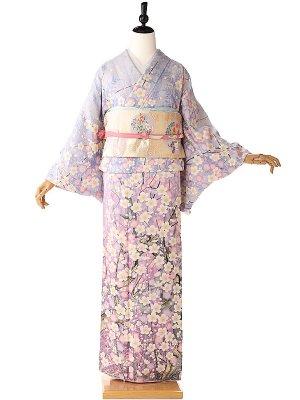 訪問着オリジナル桜ラメ紫 6095
