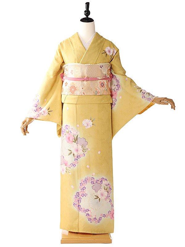 訪問着黄色桜6078