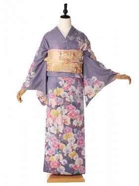 訪問着オリジナル胡蝶蘭紫