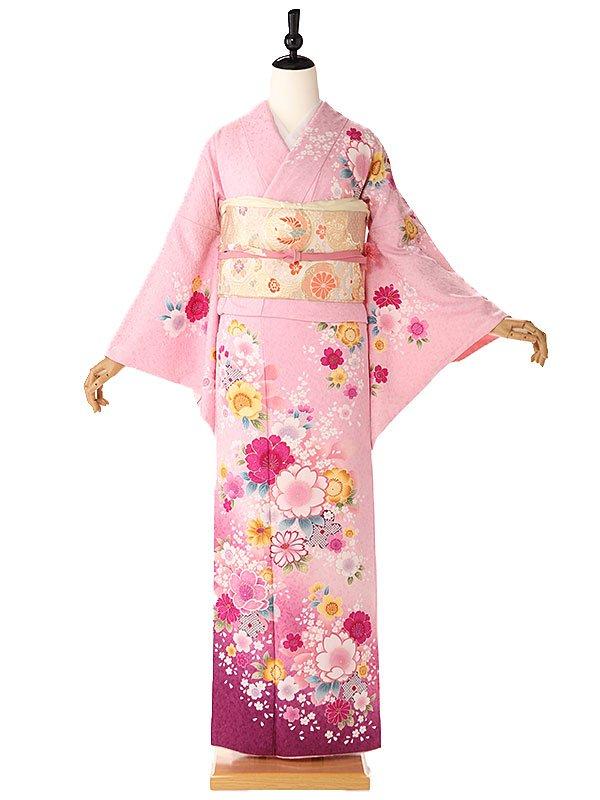 訪問着ピンク桜小花6161