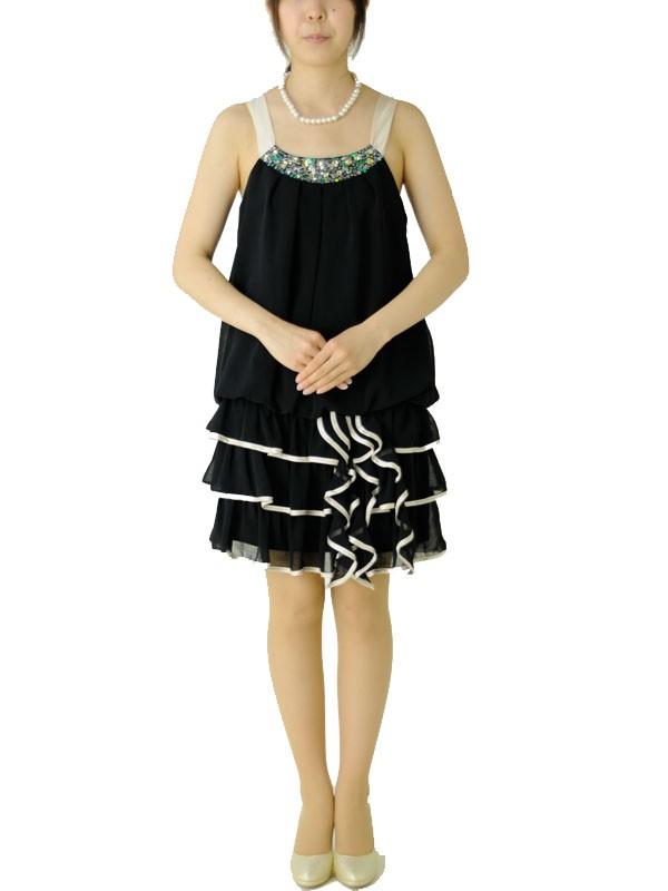 パーティドレス217黒×ベージュフリルワンピ