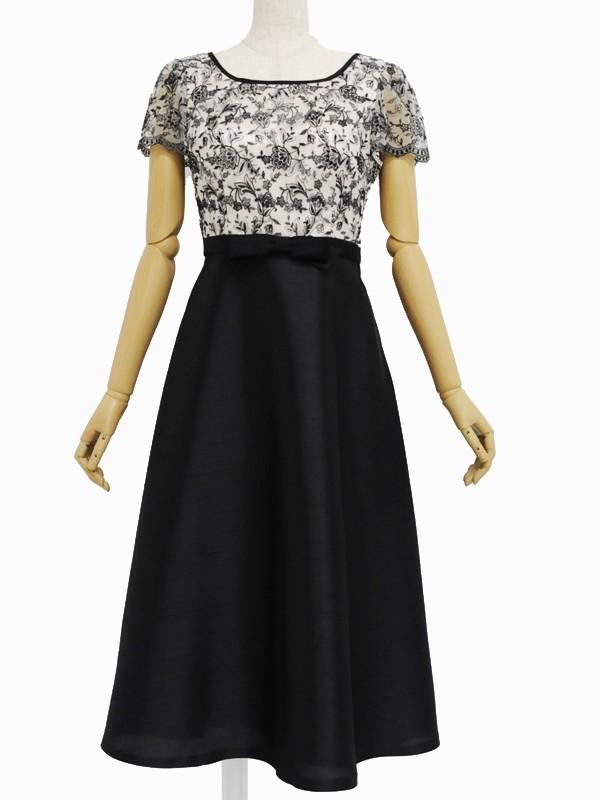 ゲストドレスベージュオーバーレース黒ワンピリボン