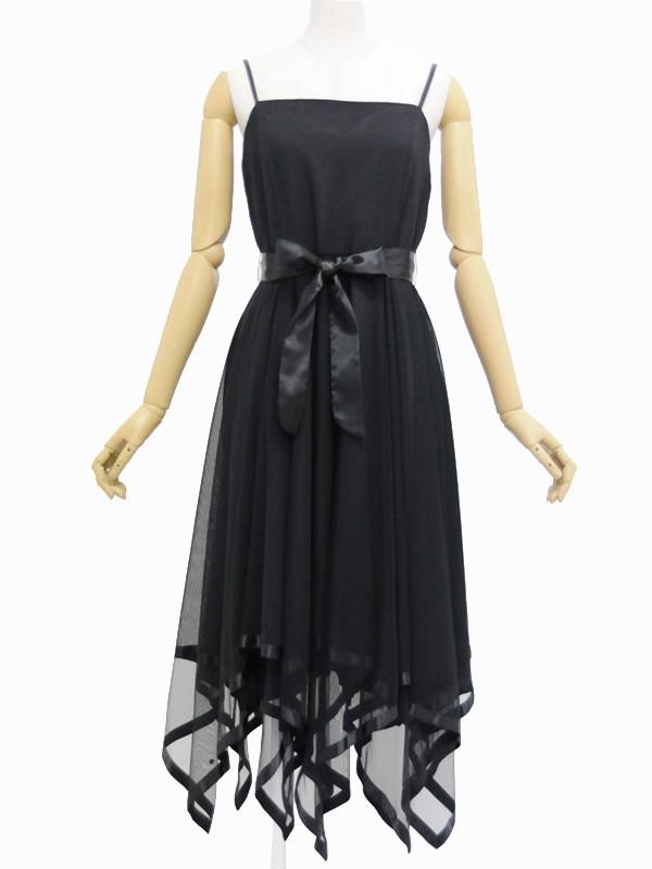 パーティドレス096黒メッシュ裾パイピングワンピ