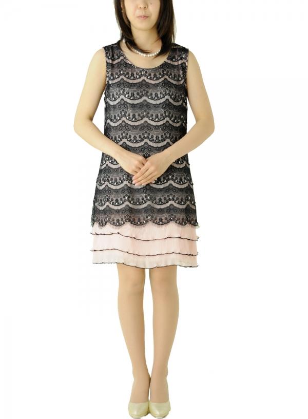 ゲストドレス337 ピンク地黒レース重ね裾プリーツ三段ワンピ