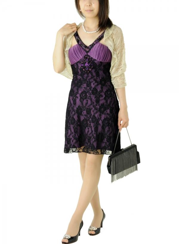 ゲストドレス370パープル黒レースミニワンピ