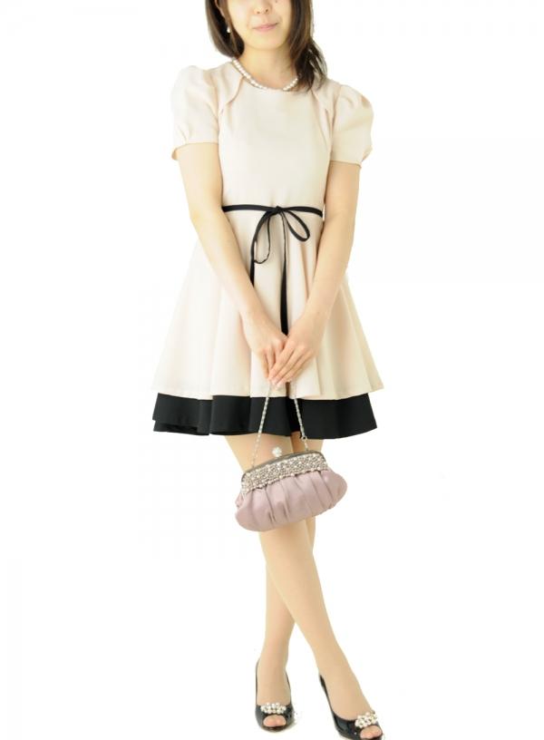ゲストドレス366ベージュ×ブラック半袖